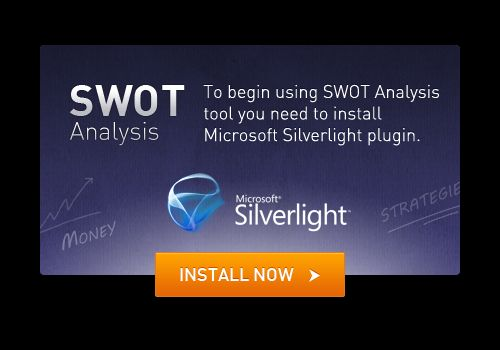 To begin using SWOT Analysis tool you need to install Microsoft Silverlight plugin