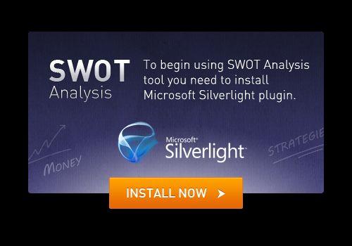 To begin using SWOT Analysis tool you need to install Microsoft Silverlight plugin